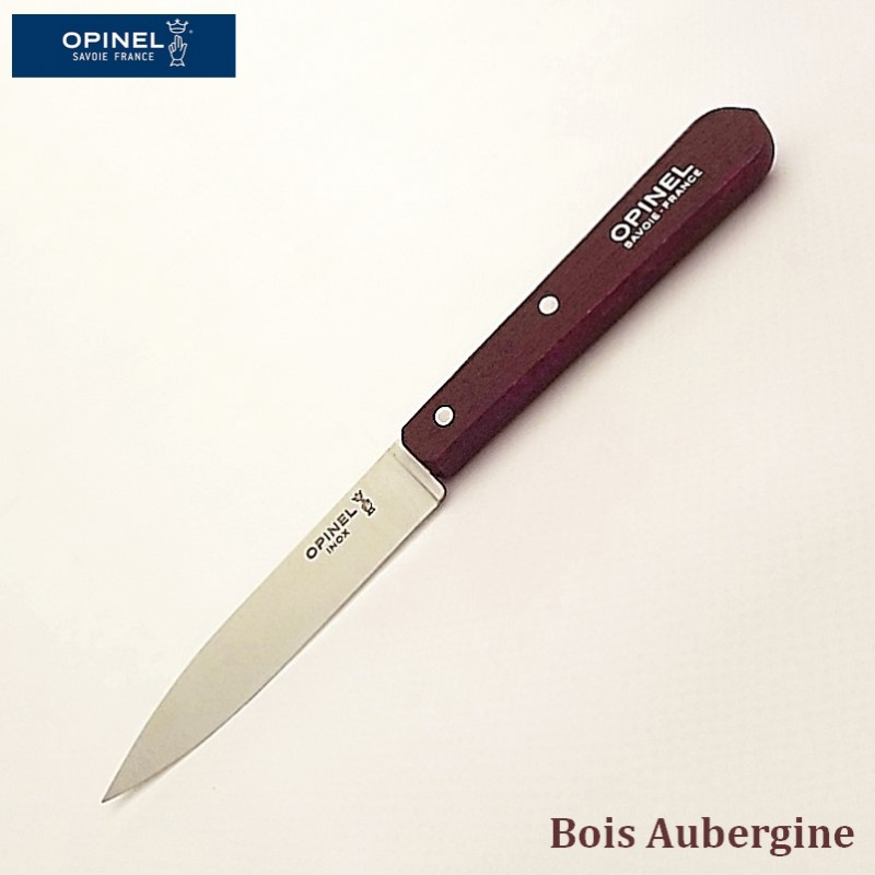 Opinel Couteau de cuisine sans dents bois aubergine vue 1