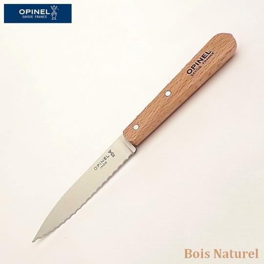 Opinel Couteau de cuisine cranté bois naturel vue 1