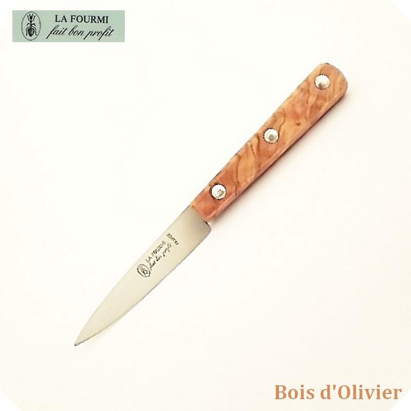 La Fourmi Couteau de Cuisine Lisse 8 cm - Bois d'olivier