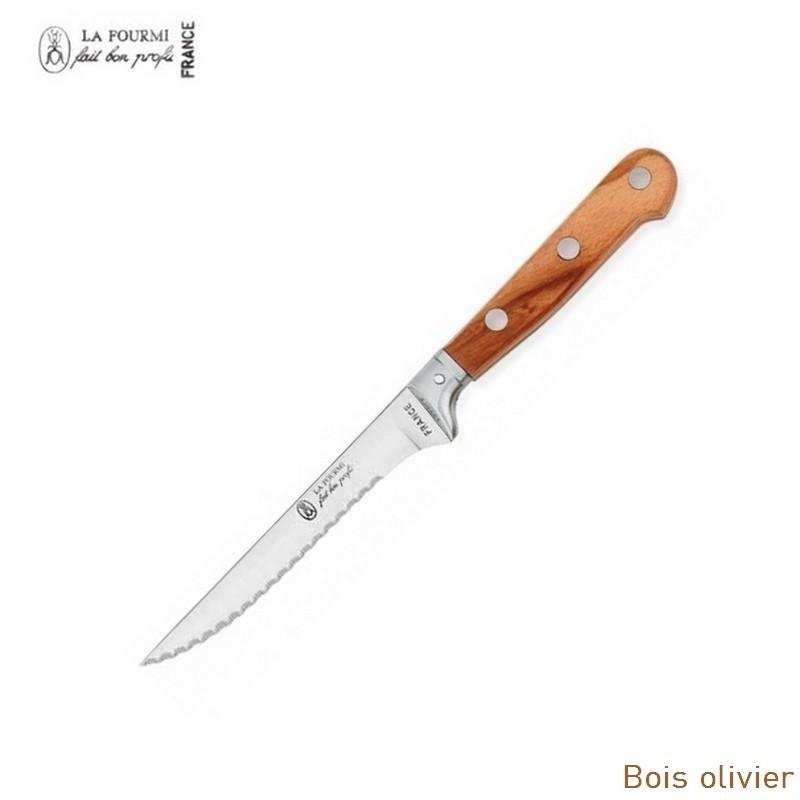 La fourmi couteau de table prestige cranté à dents - bois olivier