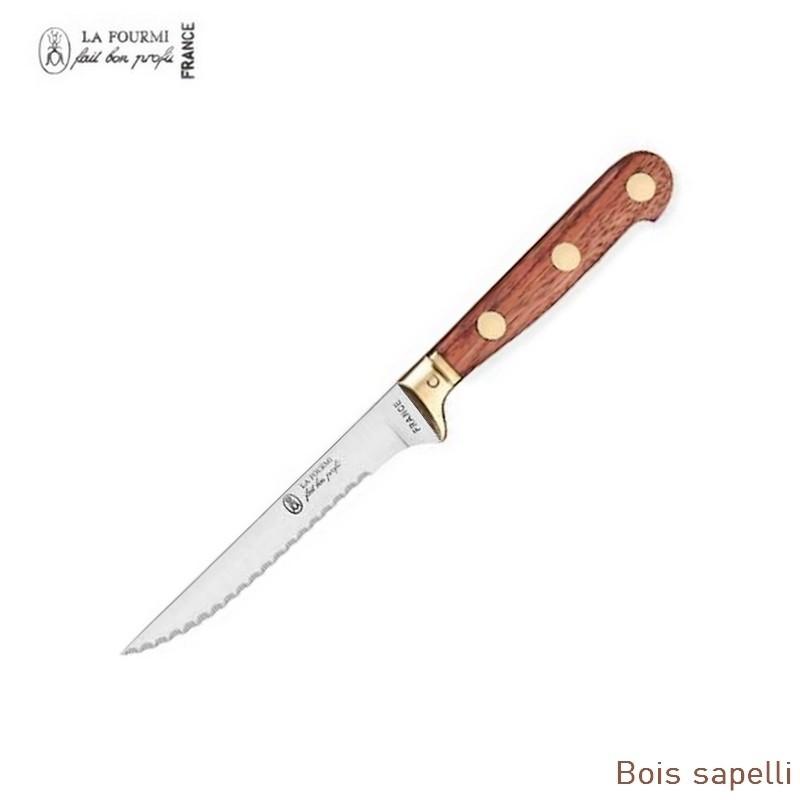 La fourmi couteau de table prestige cranté à dents - bois sapelli