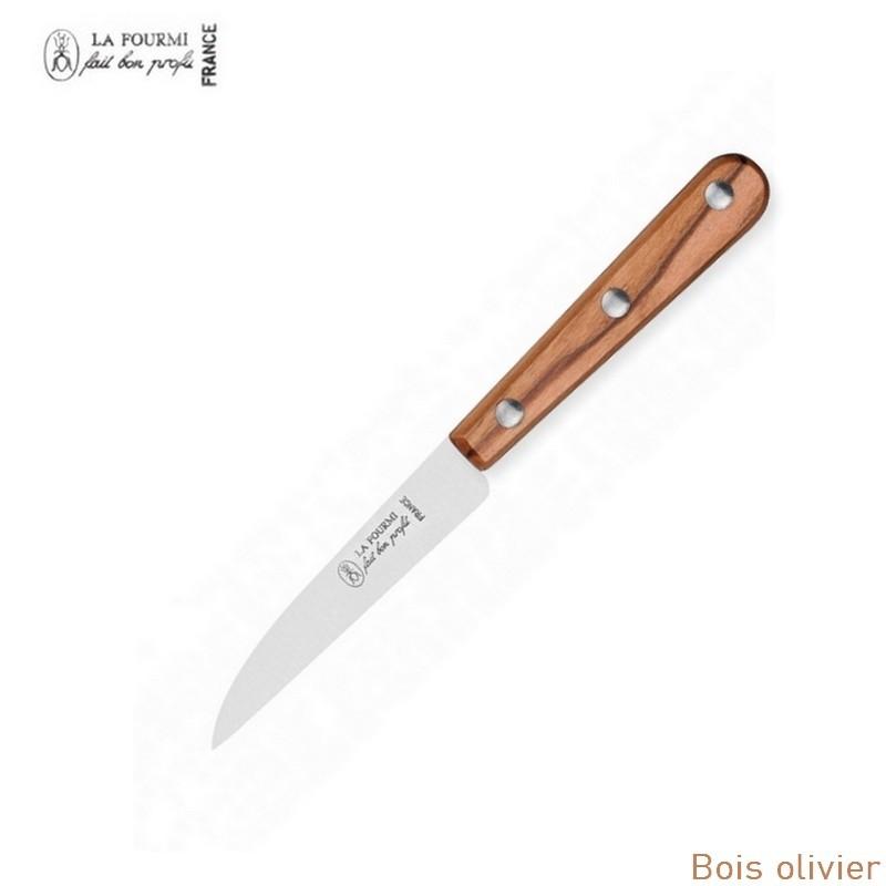 La fourmi couteau de cuisine lame droite 8 cm - bois olivier
