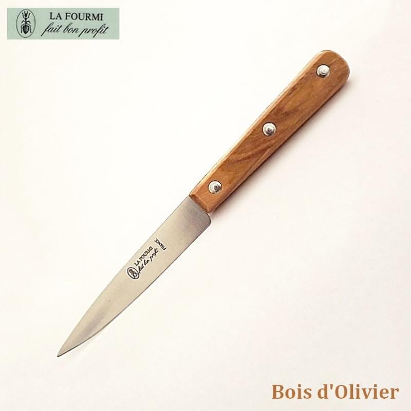 La Fourmi Couteau de Cuisine Lisse 10 cm Bois d'olivier - Vue 1