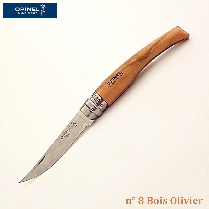 Opinel Couteau de Poche Effilé N°8 Bois olivier - Vue 1
